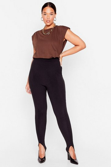 Black Stirrup to No Good Ribbed High-Waisted Leggings