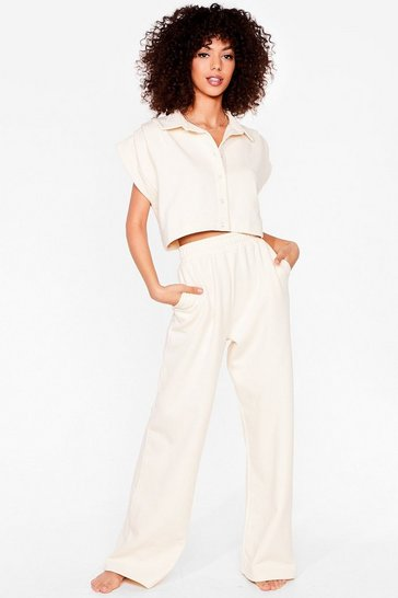 Cream You Know the Chill Wide-Leg Pants Lounge Set