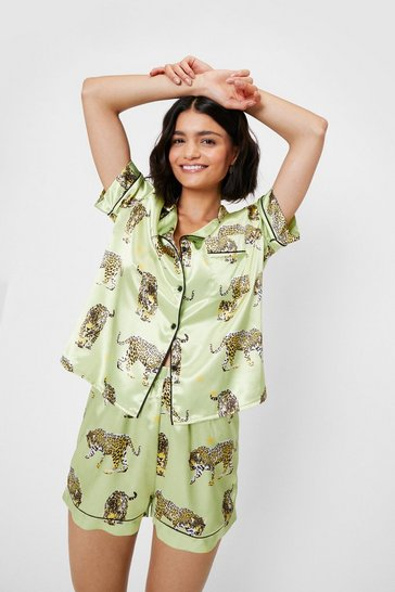 Cheetah Print Satin Pajama Shirt and Shorts Set, Lime