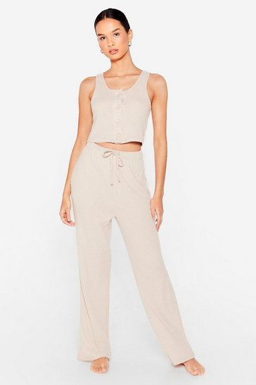 Cream Get Button It Knitted Top and Pants Lounge Set