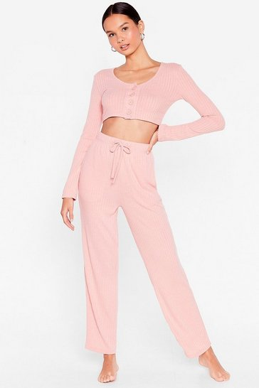 Pink Button Top of It Crop Top and Wide-Leg Lounge Set