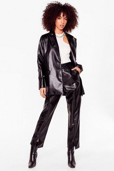 Black We're Faux Leather Young Slit Straight Leg Pants