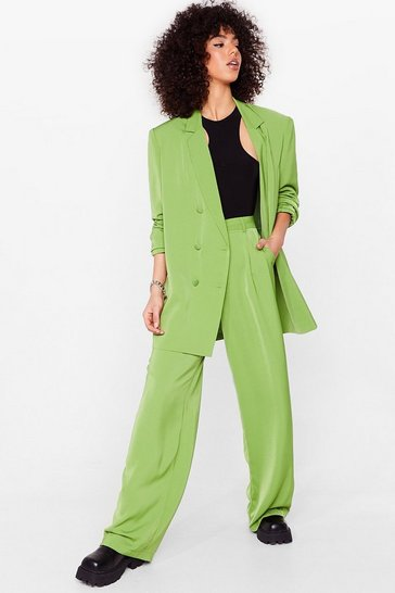 Green Oversized Wide Leg Tailored Pants