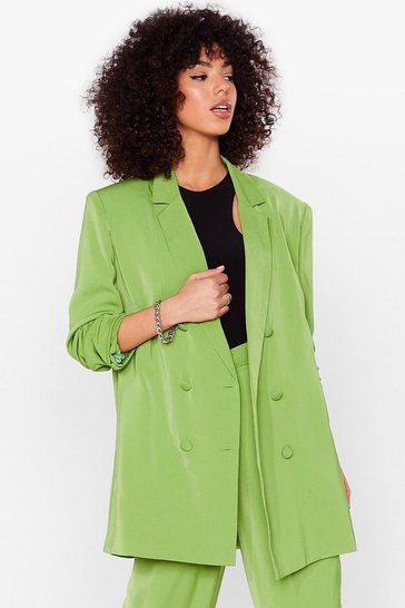 Green Go About Your Business Oversized Tailored Blazer