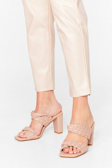 Beige Square Are You Woven Heeled Mules