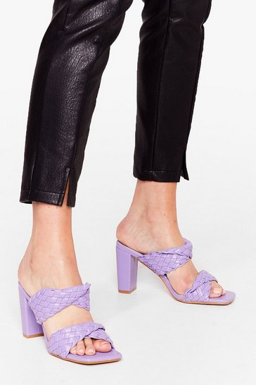 Purple Square Are You Woven Heeled Mules