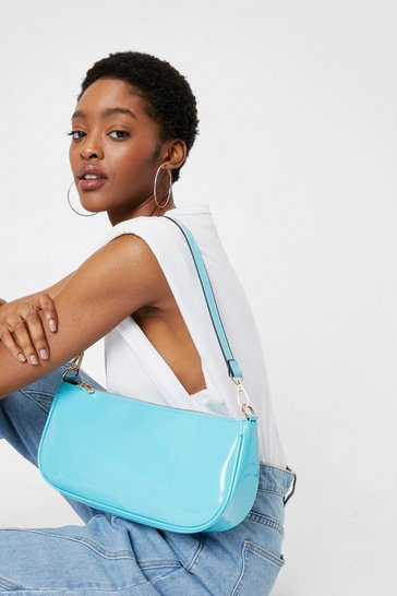 Aqua WANT Time to Shine Patent Shoulder Bag