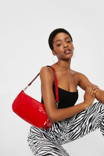 Red Patent Faux Leather Structured Shoulder Bag