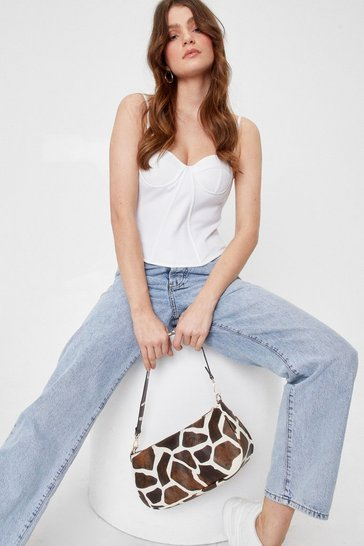 Brown WANT Wild You Be Mine Giraffe Shoulder Bag