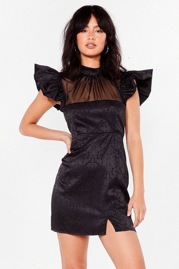 Black Chiffon to You Jacquard Mini Dress