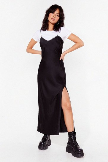 Black Chain-ge the Dynamics Satin Maxi Dress