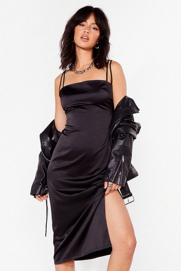 Black Slit's Our Moment Satin Midi Dress
