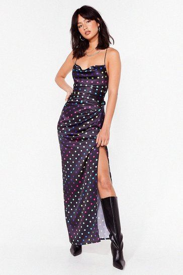 Black Dot to Get It Satin Maxi Dress