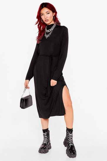 Black Tee BT Belted Midi Dress Long Sleeve