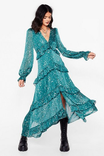Teal Star Print Ruffle Midi Dress
