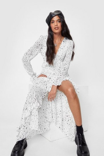 White We've Came This Star Ruffle Midi Dress