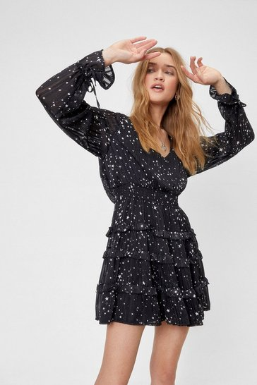 Black We've Came This Star Ruffle Mini Dress