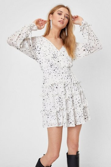 White We've Came This Star Ruffle Mini Dress