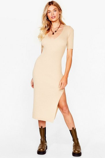 Stone Slit Wasn't Me Ribbed Midi Dress