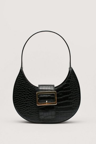 Black WANT Just Our Buck-le Croc Shoulder Bag