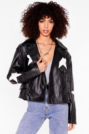 Black Star Print Faux Leather Jacket