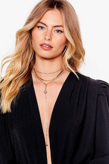 Gold Let's Drop It Layered Chain Necklace