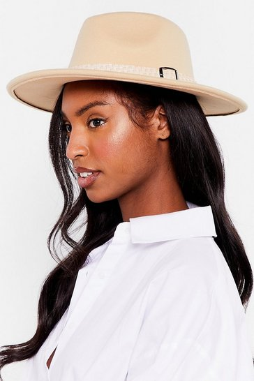 Beige I Spy Faux Wool Fedora Hat