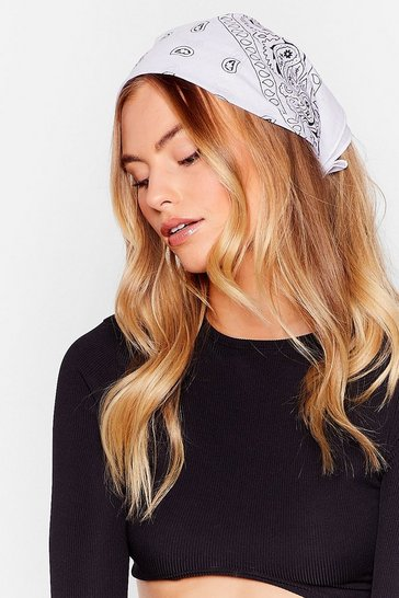 White Gimme All the Details Paisley Bandana