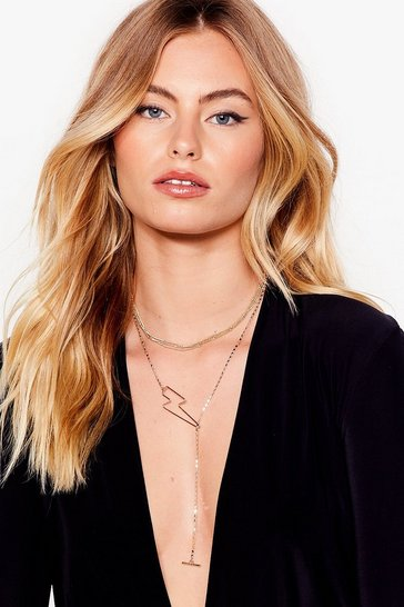 Gold Storm Ahead Lightening Bolt Layered Necklace