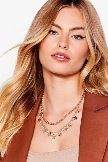 Gold Star-t the Day Right Layered Diamante Necklace