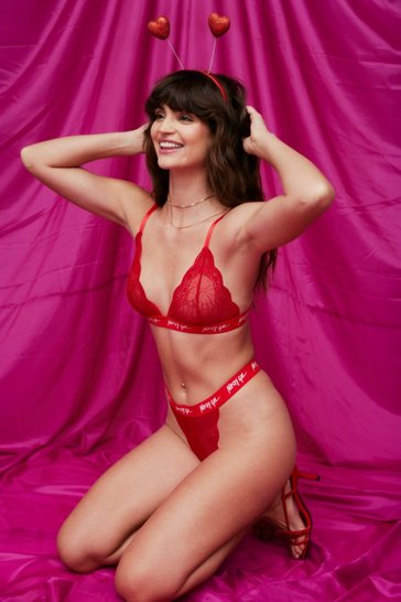 Red Nasty Gal Word On the Street Lace Lingerie Set