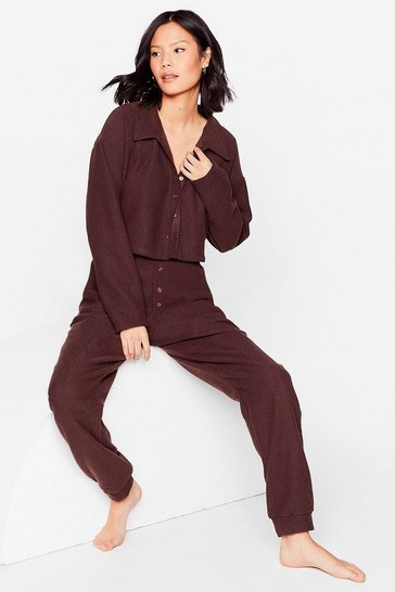 Chocolate Chilling Me Softly Top and Joggers Lounge Set