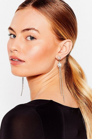 Gold Sail to the Moon Star Diamante Drop Earrings