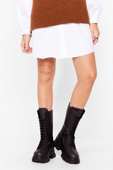 Black Stood Up to 'Em Chunky Biker Boots