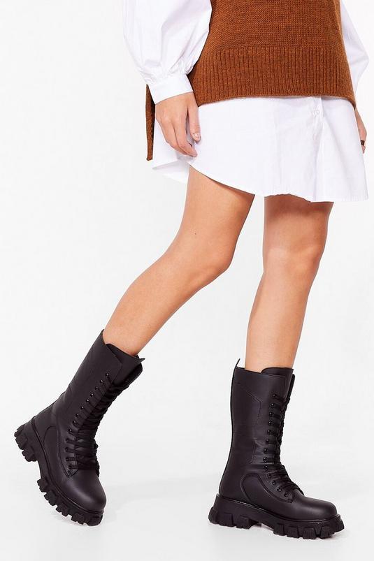 Calf High Chunky Lace Up Biker Boots   NastyGal (UK, IE)