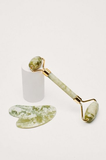 Green Perfect Duo Jade Roller and Gua Sha Set