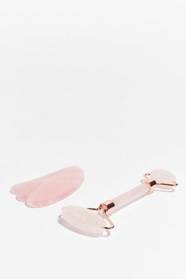 Pink Perfect Duo Rose Quartz Roller and Gua Sha Set
