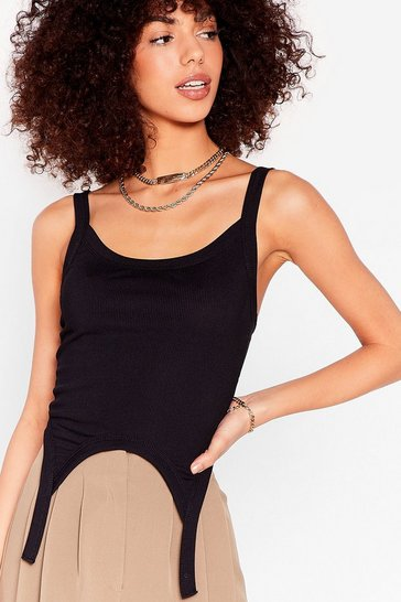 Black Don't Wait Stirrup Ribbed Crop Top