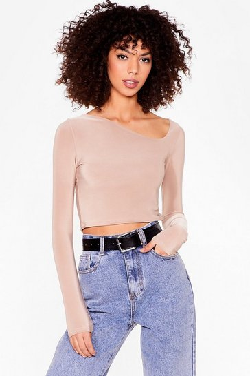 Taupe Don't Even Start Asymmetric Crop Top