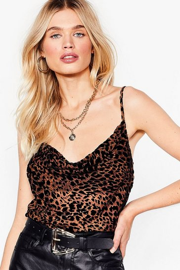 Brown Unleash Your Inner Animal Velvet Cowl Top