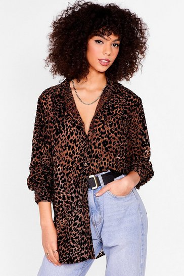 Brown Devore You Stay Oversized Cheetah Shirt