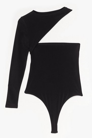 Black Cut-Out of Line High-Leg Slinky Bodysuit