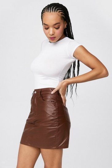 Chocolate Grab Your Coat-ed Denim Mini Skirt