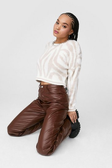 Chocolate Dru Coated Wide-Leg Jeans