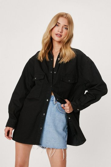 Washed black Washed Oversized Button Down Denim Shirt