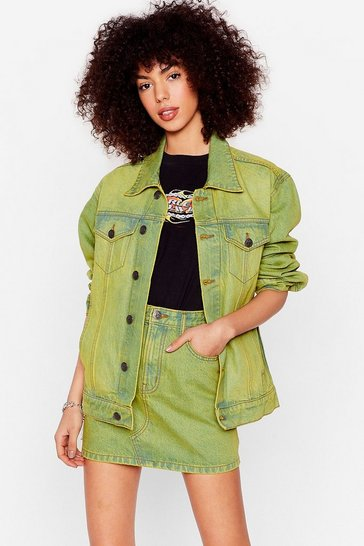 Lime Acid Wash Oversized Denim Jacket