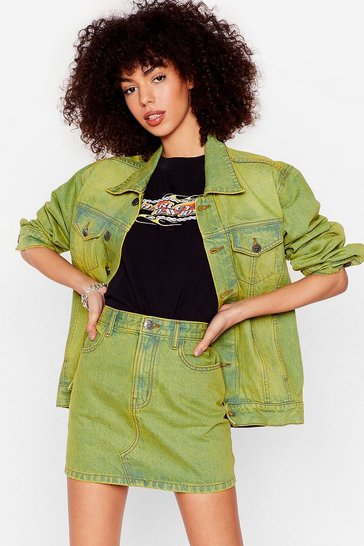 Lime Acid Wash Out World Denim Mini Skirt