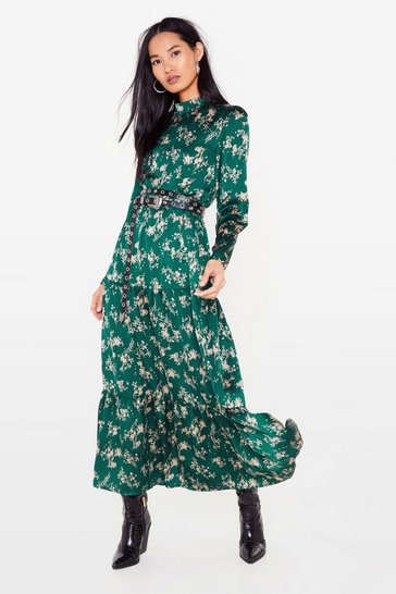 Dark green Floral Long Sleeve High Neck Maxi Dress