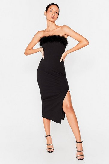 Black Don't Ruffle My Feathers Bandeau Midi Dress