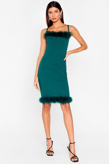 Teal You're Feather Alone Square Neck Mini Dress